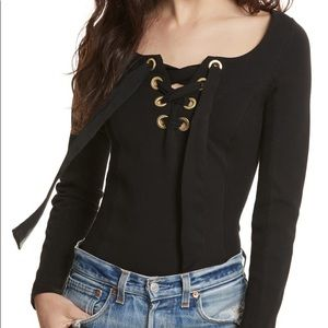FREE PEOPLE LOOKING BACK LACE UP RIBBED SHIRT
